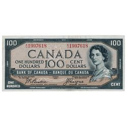 BANK OF CANADA. $100.00. 1954 Issue. BC-35b. Beattie-Coyne. 'Devil's Face'. No. A/J1997618. PMG grad