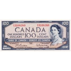 BANK OF CANADA. $100.00. 1954 Issue. BC-43b. Modified. No. B/J3108389. BCS graded AU-55.