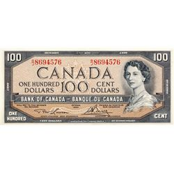 BANK OF CANADA. $100.00. 1954 Issue. BC-43c. Lawson- Bouey. No. B/J8694576. CCCS graded Unc-64.