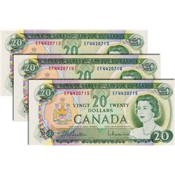 BANK OF CANADA. $20.00. 1969 Issue. BC-50a. Beattie-Rasminsky. No.'s EF4420713, 715, 715. All three