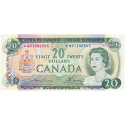 BANK OF CANADA. $20.00. 1969 Issue. BC-50bA. Lawson-Bouey. No. *WV1240545. CCCS graded Extra Fine-45