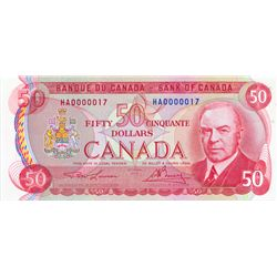 BANK OF CANADA. $50.00. 1975 Issue. BC-51a. Lawson-Bouey. No. HA0000017. A Low Serial numbered note.