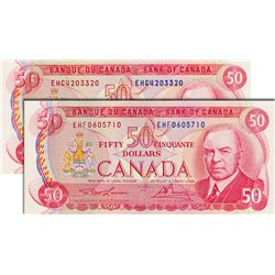 BANK OF CANADA. $50.00. 1975 Issue. BC-51a-i. Lawson-Bouey. No. EHC4203320 & EHF0605710. Both BCS gr