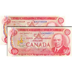 BANK OF CANADA. $50.00. 1975 Issue. BC-51a-i. Lawson-Bouey. No. EHE1103229 & EHF0605711. Both CCCS g