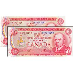 BANK OF CANADA. $50.00. 1975 Issue. BC-51a. Lawson-Bouey. No.'s HC7286291 & 6292. Both BCS graded Or