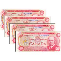 BANK OF CANADA. $50.00. 1975 Issue. BC-51a. Lawson-Bouey. No. HC7286293: BC-51a-i. No. EHB4982725; B
