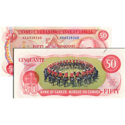 BANK OF CANADA. $50.00. 1975 Issue. BC-51a. Lawson-Bouey. No. HB6328260 & HB6328261. Both CCCS grade