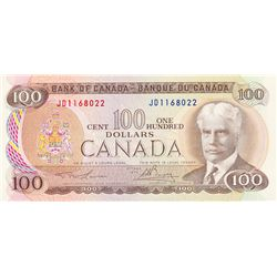 BANK OF CANADA. $100.00. 1975 Issue. BC-52a. Lawson- Bouey. No. JD1168022. CCCS graded AU-55. A shor