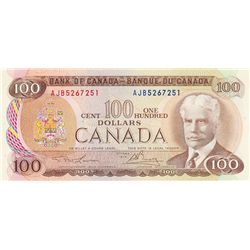 BANK OF CANADA. $100.00. 1975 Issue. BC-52a-i. Lawson- Bouey. No. AJB5267251. CCCS graded Choice Unc