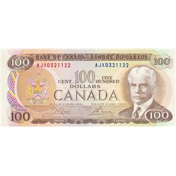 BANK OF CANADA. $100.00. 1975 Issue. BC-52bA. Crow- Bouey. No. AJX0321122. CCCS graded Mint State-64