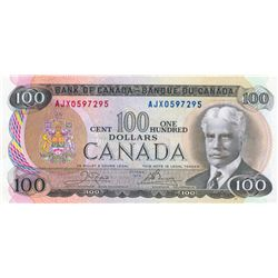 BANK OF CANADA. $100.00. 1975 Issue. BC-52bA. Crow- Bouey. No. AJX0597295. Select Unc.
