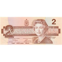 BANK OF CANADA. $2.00. 1986 Issue. BC-55a. Crow- Bouey. No. AUH4174003. CCCS graded Gem Unc-66.