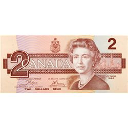 BANK OF CANADA. $2.00. 1986 Issue. BC-55a. Crow-Bouey. No. AUK2251689. AUH4504020. BC-55b. Thiessen-