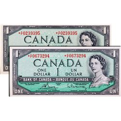 BANK OF CANADA. $1.00. 1954 Issue. BC-37dA. No. *X/F0239394 & 9395. Both PCGS graded PCGS Choice Unc
