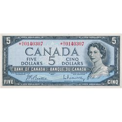 BANK OF CANADA. $5.00. 1954 Issue. BC-39bA. No. *NX0140307. BCS graded Extra Fine-40.