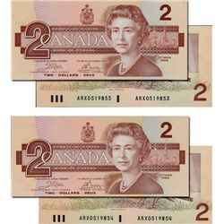 BANK OF CANADA. $2.00. 1986 Issue. BC-55aA. Crow-Bouey. No. ARX0519853 &9854. Lot of two (2) consecu