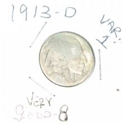 1913-D Variety 1 Buffalo Nickel *EXTREMLY RARE NICKEL *VERY GOOD GRADE*!!