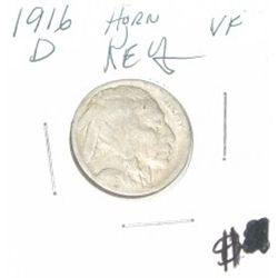 1916-D Variety 1 Buffalo Nickel *EXTREMLY RARE NICKEL *VERY FINE GRADE* HORN & TAIL!!