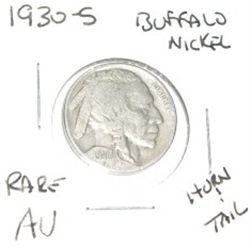 1930-S Buffalo Nickel *EXTREMLY RARE NICKEL *AU HIGH GRADE* KEY DATE HORN & TAIL!!