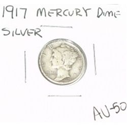 1917 MERCURY SILVER DIME KEY DATE *VERY RARE AU-50 HIGH GRADE*!!