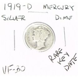 1919-D MERCURY SILVER DIME KEY DATE *EXTREMELY RARE VERY FINE-30 GRADE*!!