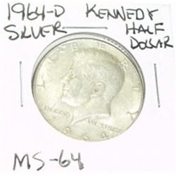 1964-D KENNEDY SILVER HALF DOLLAR *EXTREMELY RARE MS-64 HIGH GRADE*!!