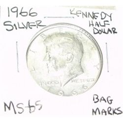 1966 KENNEDY SILVER HALF DOLLAR *EXTREMELY RARE MS-65 HIGH GRADE* Bag Marks!!