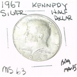 1967 KENNEDY SILVER HALF DOLLAR *EXTREMELY RARE MS-63 HIGH GRADE* Bag Marks!!