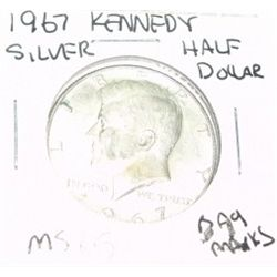 1967 KENNEDY SILVER HALF DOLLAR *EXTREMELY RARE MS-65 HIGH GRADE* Bag Marks!!