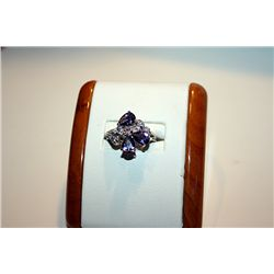 Lady's Fancy 14 kt White Gold Amethyst & Diamond Ring