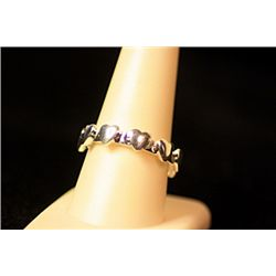 Lady's Fancy Sterling Silver  Hearts Band  Design Tiffany Ring