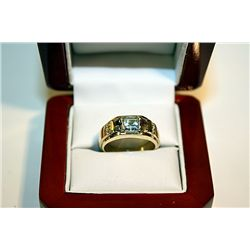 Mans 14k Yellow Gold Topaz Diamond
