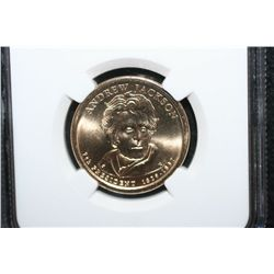 2008-P US Presidential Andrew Jackson-7th President $1 Coin; NGC Graded Brilliant Uncirculated