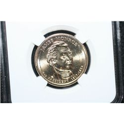 2008-D US Presidential James Monroe-5th President $1 Coin; NGC Graded Brilliant Uncirculated