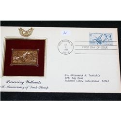 1984 First Day Issue 22K Gold Replica Stamp W/Postal Stamp; Preserving Wetlands 50th Anniversary of