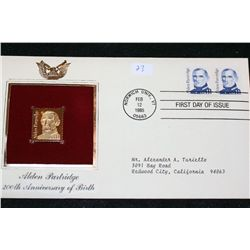 1985 First Day Issue 22K Gold Replica Stamp W/Postal Stamp; Alden Partridge 200th Anniversary of Bir