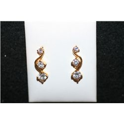 "White Gemstone ""S-Shaped"" Earrings"
