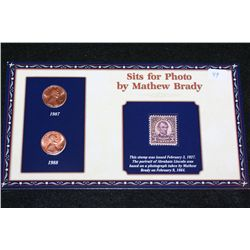 1987-D & 1988 Lincoln Penny Set W/Postal Stamp Commerating Lincoln Sits for Mathew Brady Photo