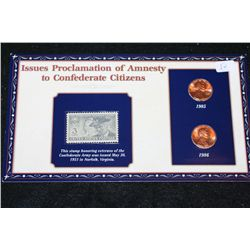 1985 & 1986 Lincoln Penny Set W/Postal Stamp Commerating Proclamation of Amnesty to Confederate Citi