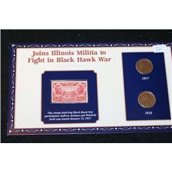 1917 & 1918 Lincoln Penny Set W/Postal Stamp Commerating Joining Illinois Militia to Fight in Black