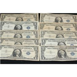 1957 & 1957-A US Silver Certificate $1; Blue Seal; Lot of 10