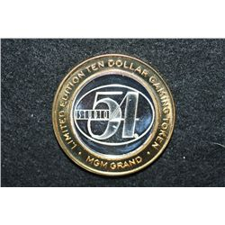 "MGM Grand Las Vegas NV ""Studio 54"" Limited Edition Two-Tone $10 Gaming Token, .999 Fine Silver"