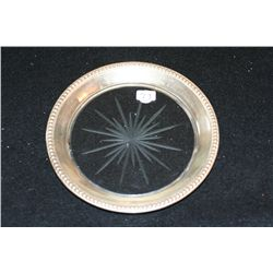 Vintage Glass and Sterling Silver Trivet