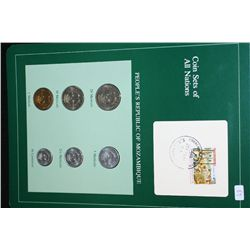 People's Republic of Mozambique; Coin Sets of All Nations W/Postal Stamp Dated 1985