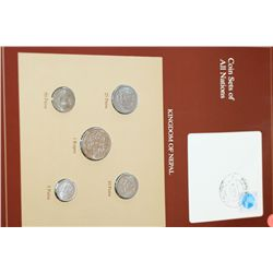 Kingdom of Nepal; Coin Sets of All Nations W/Postal Stamp
