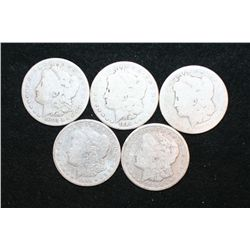 1880, 1883, 1884, 1890-O & 1921-S Silver Morgan $1; Lot of 5