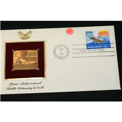 1981 First Day Issue 22K Gold Replica Stamp W/Postal Stamp; Space Achievement Shuttle Returning to E