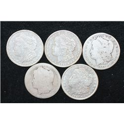1889-O, 1899-O, 1921-D & 1921-S (2) Silver Morgan $1; Lot of 5