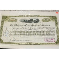 The Baltimore and Ohio Railroad Company Stock Certificate Dated 1935