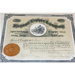 Stevens Copper Company Stock Certificate Dated 1902